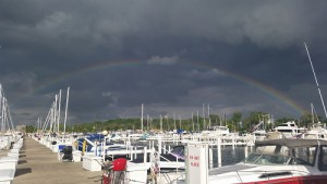 fishing harbor rainbow